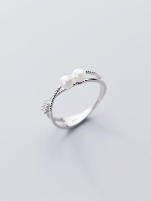 Rosh 925 sterling silver imitation pearl  cross minimalist free size ring 2
