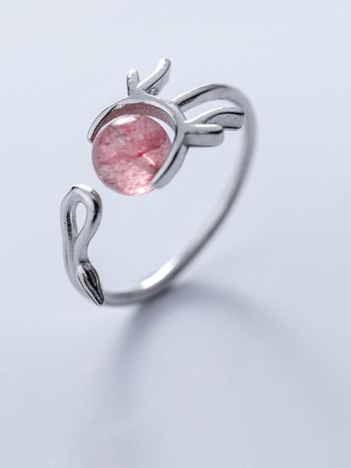 Rosh 925 Sterling Silver Garnet Irregular Minimalist Free Size Ring 1