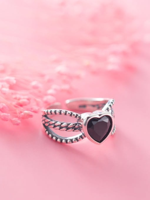 Rosh 925 Sterling Silver Acrylic Black Heart Vintage Free Size Ring 1