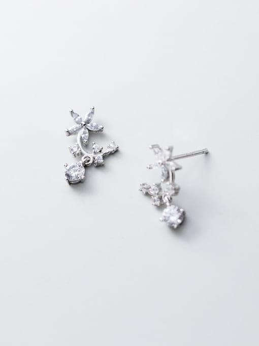 Rosh 925 Sterling Silver Cubic Zirconia  Flower Minimalist Stud Earring 1