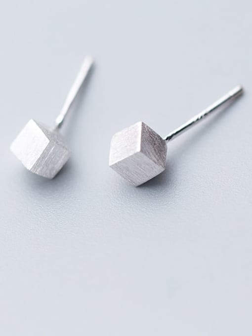 Rosh 925 Sterling Silver smooth Square Minimalist Stud Earring 1