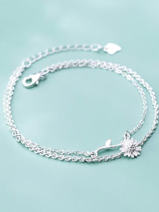 Rosh 925 sterling silver fminimalist Fashion Daisy Leaf Flower Double Bracelet 2