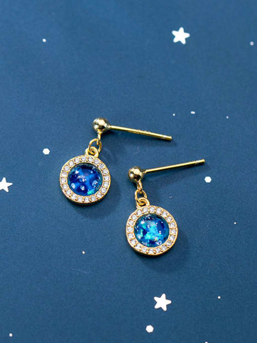 Rosh 925 Sterling Silver Cubic Zirconia Blue Geometric Minimalist Stud Earring