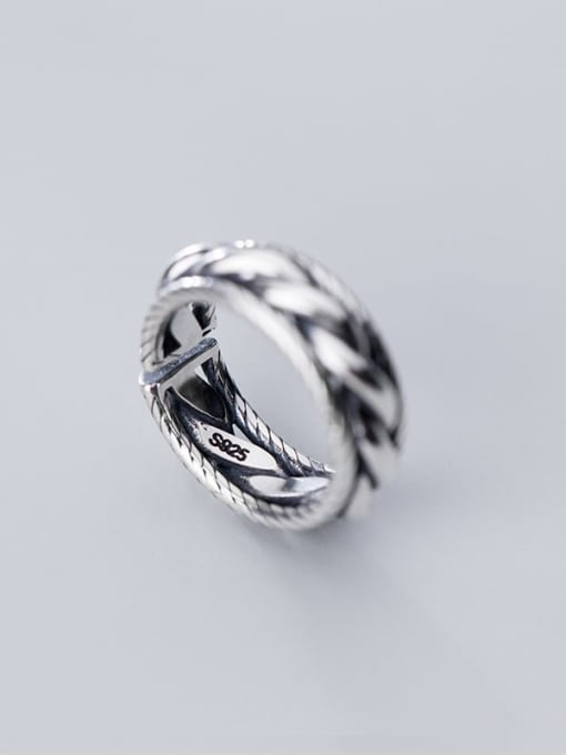 Rosh 925 Sterling Silver Retro spiral multilayer glossy Free Size Ring 0