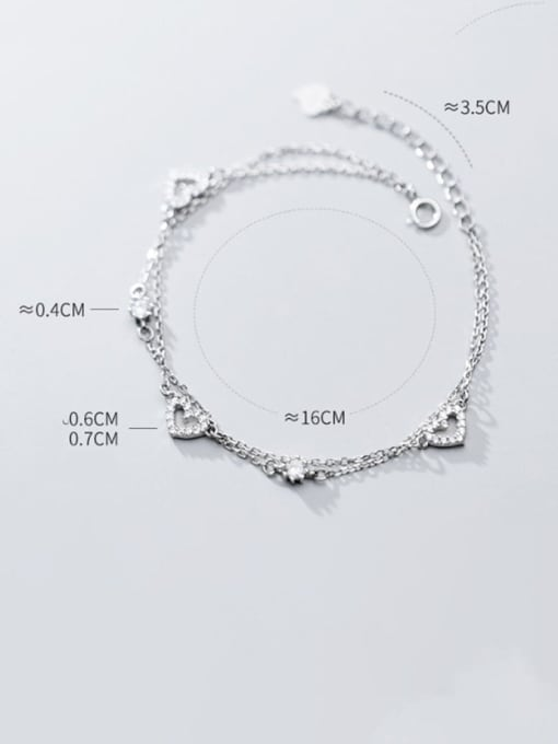 Rosh 925 Sterling Silver Minimalist  Hollow Heart Strand Bracelet 1