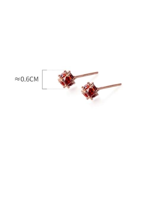 Rosh 925 Sterling Silver Cubic Zirconia Red Irregular Minimalist Stud Earring 3