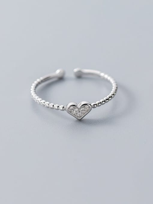 Rosh 925 Sterling Silver Cubic Zirconia  Heart Minimalist Free Size Ring 0