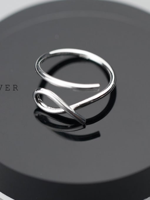 Rosh 925 Sterling Silver Hollow Irregular Minimalist Free Size  Ring 0