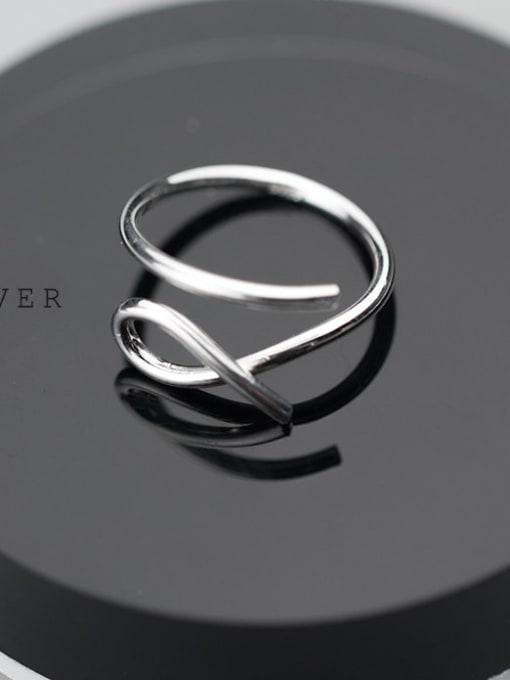 Rosh 925 Sterling Silver Hollow Irregular Minimalist Free Size  Ring