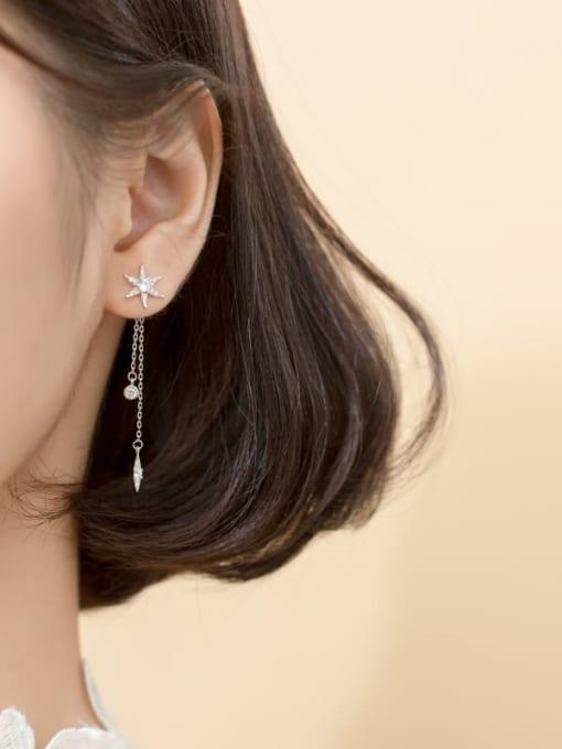 Rosh 925 Sterling Silver Cubic Zirconia  Star tassel Minimalist Threader Earring 2
