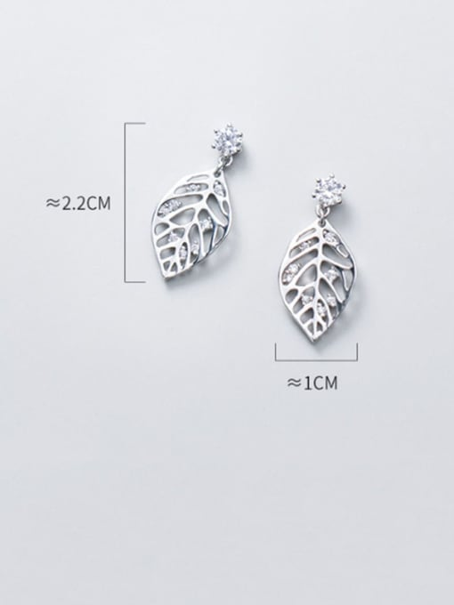 Rosh 925 Sterling Silver Rhinestone Hollow Leaf Minimalist Drop Earring 2