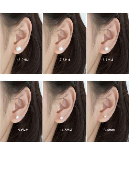 Rosh 925 Sterling Silver Freshwater Pearl  Round Minimalist Stud Earring 1