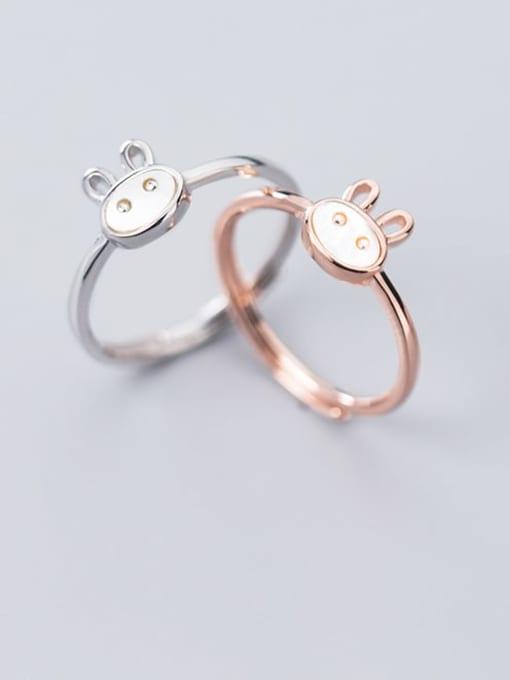 Rosh 925 Sterling Silver  Cute  Fashion cute shell rabbit free size Ring 0