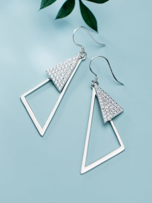 Rosh 925 Sterling Silver Rhinestone Triangle Minimalist Hook Earring 0