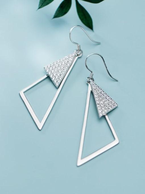 Rosh 925 Sterling Silver Rhinestone Triangle Minimalist Hook Earring