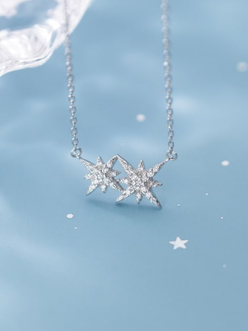 Rosh 925 Sterling Silver Cubic Zirconia  Star  Necklace 1