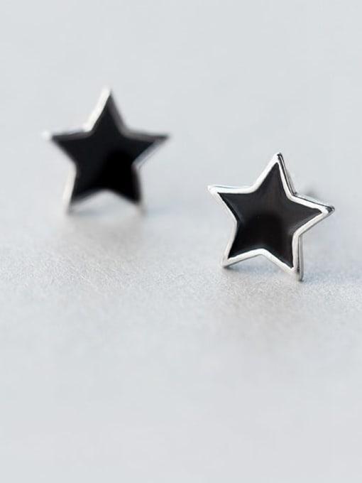 Rosh 925 Sterling Silver Black Enamel Star Minimalist Stud Earring