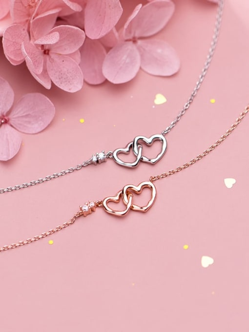 Rosh 925 Sterling Silver Minimalist  Hollow  Heart Necklace 2