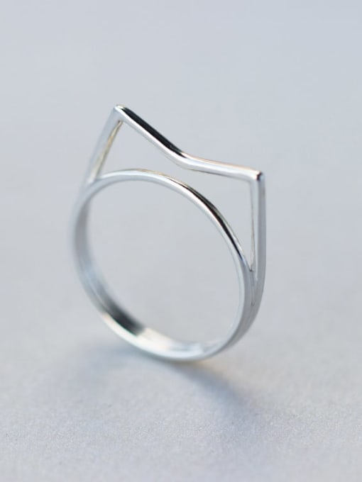 Rosh 925 Sterling Silver Hollow  Geometric Minimalist Free Size Ring 0