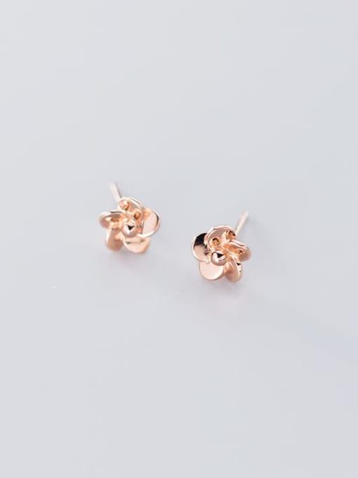 Rosh 925 Sterling Silver Rhinestone Flower Minimalist Stud Earring 4