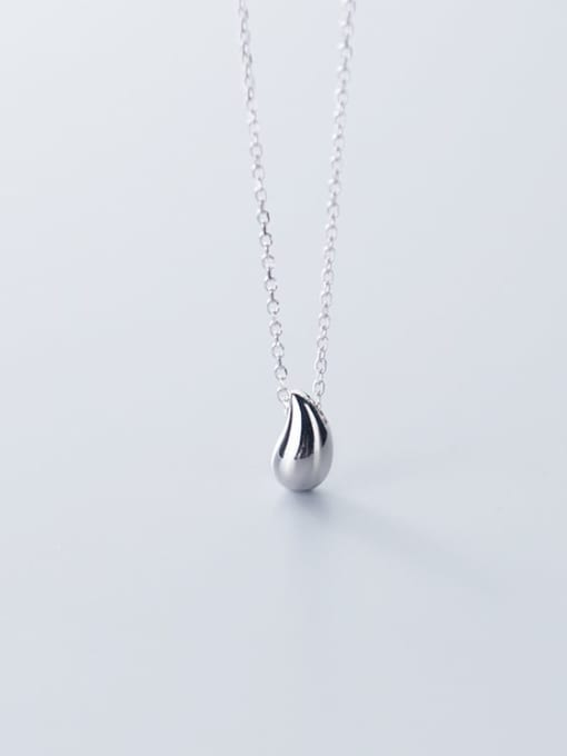 Rosh 925 Sterling Silver Simple glossy water drop pendant Necklace 2