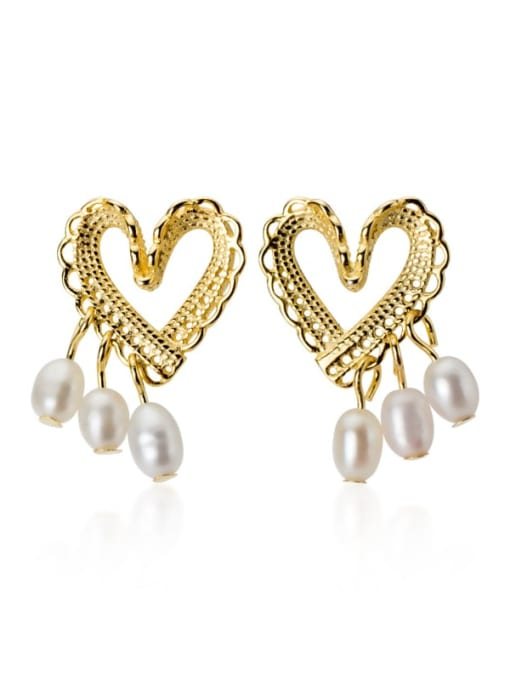 Rosh 925 Sterling Silver Imitation Pearl  Heart Minimalist Stud Earring 0