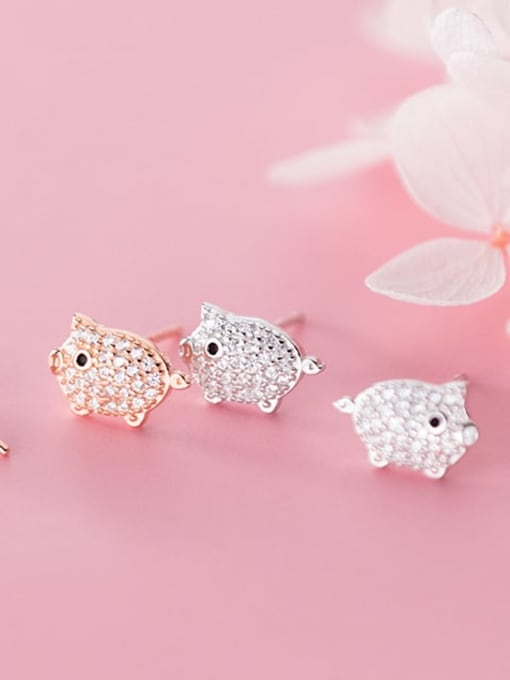 Rosh 925 Sterling Silver Cubic Zirconia  Pig Classic Stud Earring 1