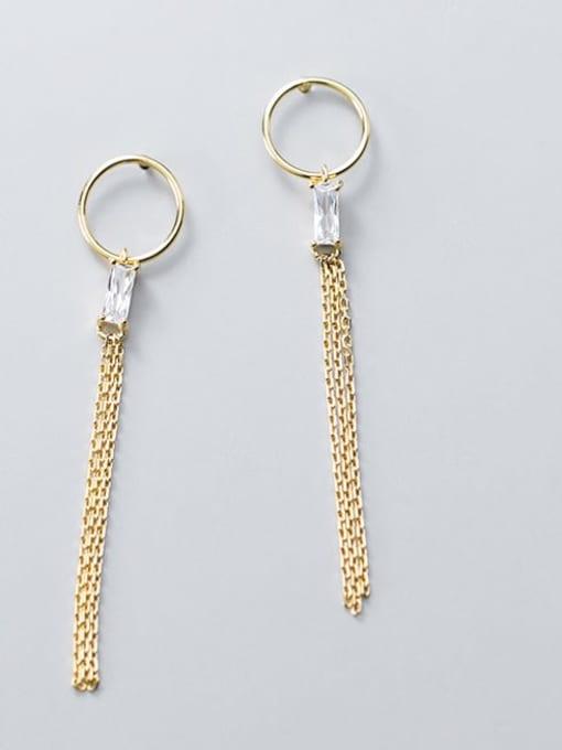 Rosh 925 Sterling Silver Rhinestone Simple ring with diamond tassel  Vintage Threader Earring 2