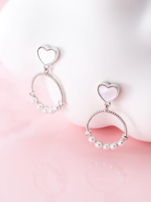 Rosh 925 Sterling Silver Imitation Pearl  Heart Round Trend Drop Earring 1