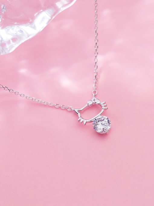 Rosh 925 Sterling Silver Cubic Zirconia Fashion Cute Hollow Cat Necklace 2