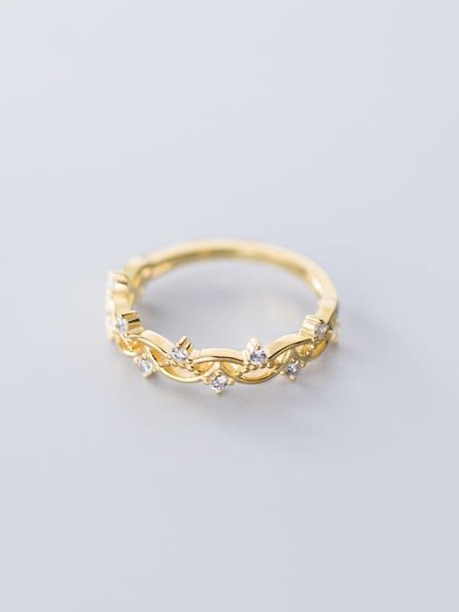 Rosh 925 Sterling Silver Cubic Zirconia Hollow Irregular Minimalist free size Ring