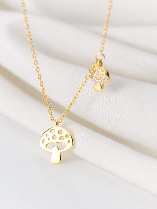 Rosh 925 Sterling Silver Hollow Mushroom Minimalist Necklace 1