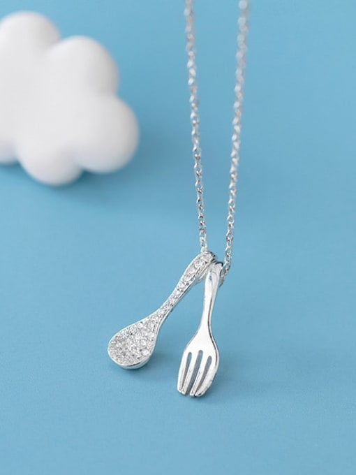 Rosh 925 sterling silver Simple  cute fork spoon pendant necklace