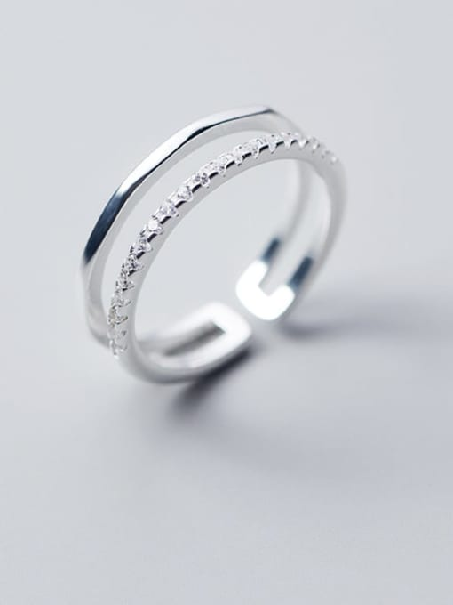 Rosh 925 Sterling Silver Rhinestone White Irregular Minimalist Free Size Band Ring 0