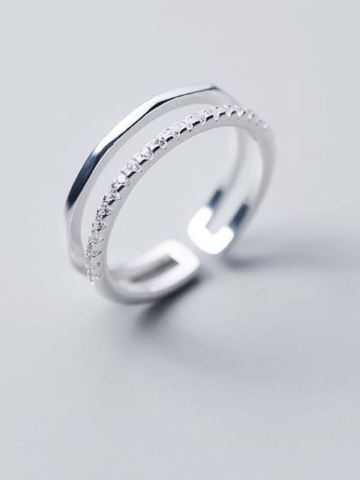 Rosh 925 Sterling Silver Rhinestone White Irregular Minimalist Free Size Band Ring