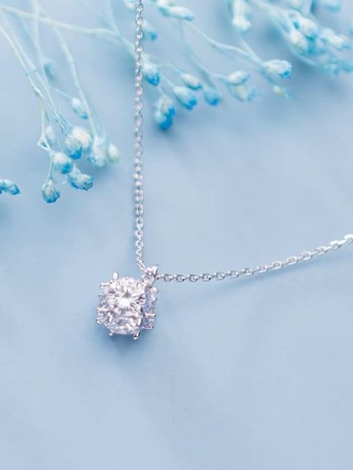 Rosh 925 Sterling Silver Rhinestone Full diamond small ball pendant Necklace 1