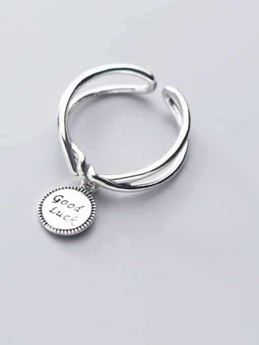 Rosh 925 Sterling Silver  Vintage Retro Double Knot Round Card LUCK Letter Band Ring 0