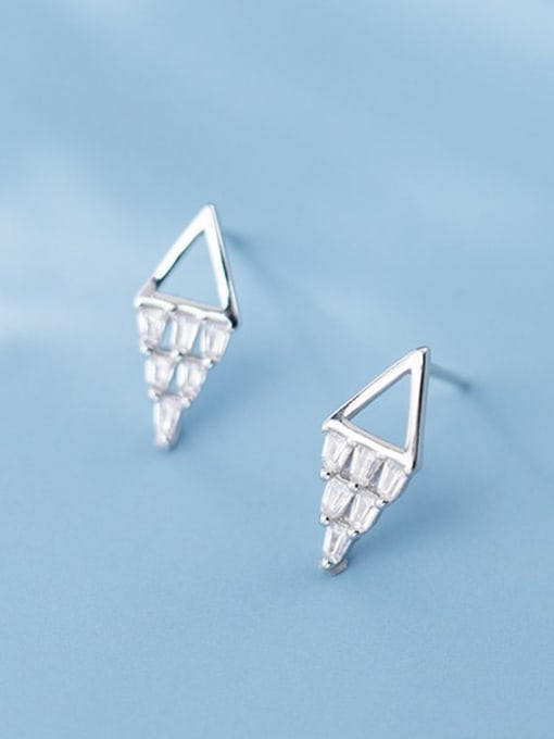 Rosh 925 sterling silver square  cubic zirconia  minimalist stud earring 1