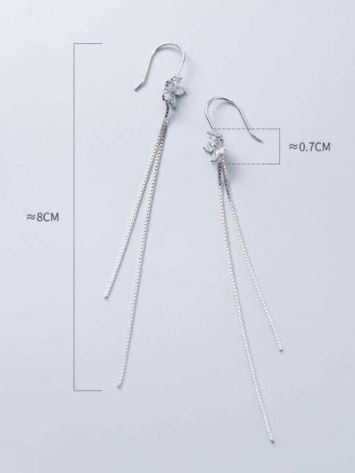 Rosh 925 Sterling Silver Flowers Tassel Minimalist Threader Earring 3