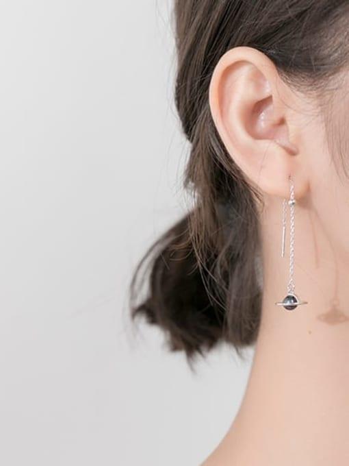 Rosh 925 Sterling Silver Imitation Pearl Black Tassel Minimalist Threader Earring 1