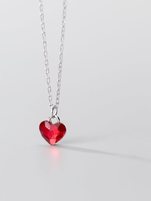 Rosh 925 Sterling Silver Red Heart Minimalist Necklace 3