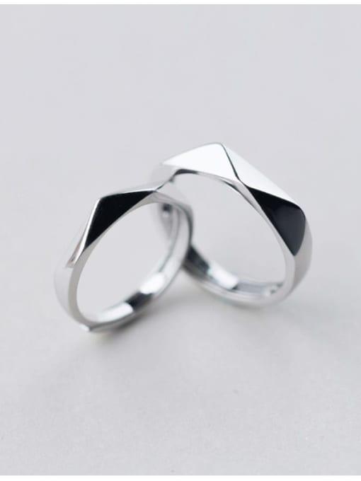 Rosh 925 Sterling Silver Geometric Minimalist Couple Ring 0