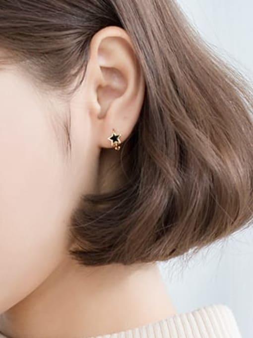 Rosh 925 Sterling Silver Black Enamel Star Minimalist Huggie Earring 1