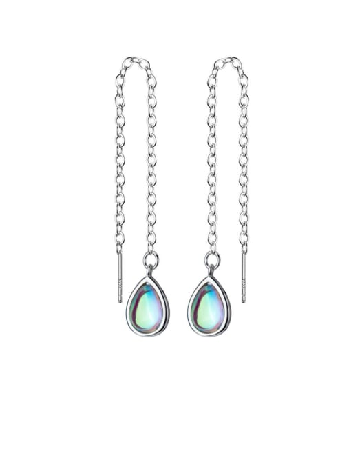 Rosh 925 Sterling Silver Multi Color Water Drop Minimalist Threader Earring 0