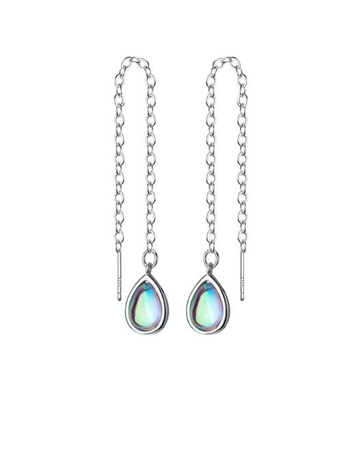 Rosh 925 Sterling Silver Multi Color Water Drop Minimalist Threader Earring