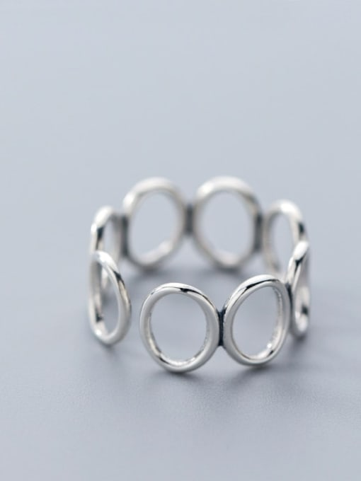 Rosh 925 Sterling Silver Hollow Round Minimalist Free Size Ring 3
