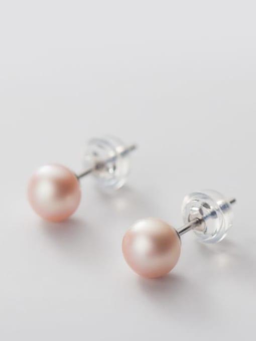 Purple Pearl Earrings Silver 6 7mm 925 Sterling Silver Freshwater Pearl  Round Minimalist Stud Earring