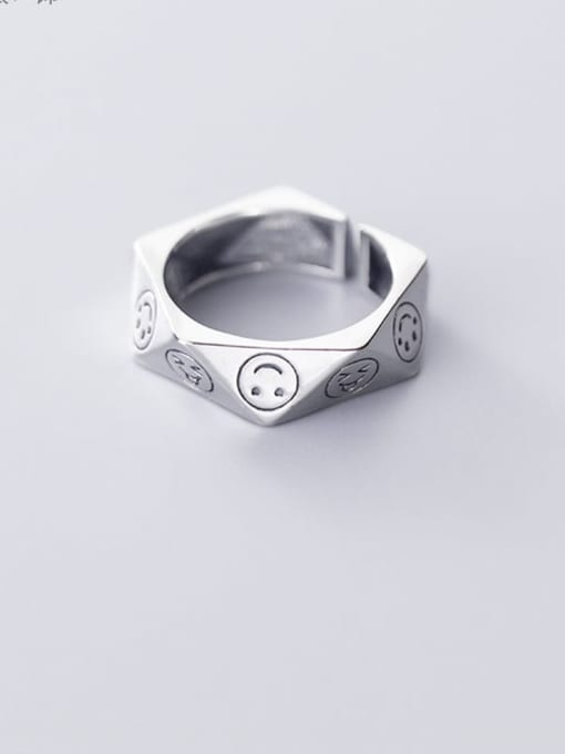 Rosh 925 Sterling Silver minimalist cute smiley face personality irregular Pentagon Band Ring 0