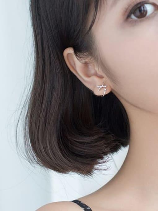 Rosh 925 sterling silver rhinestone bowknot trend stud earring 3