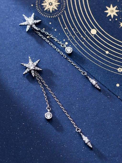 Rosh 925 Sterling Silver Cubic Zirconia  Star tassel Minimalist Threader Earring 1